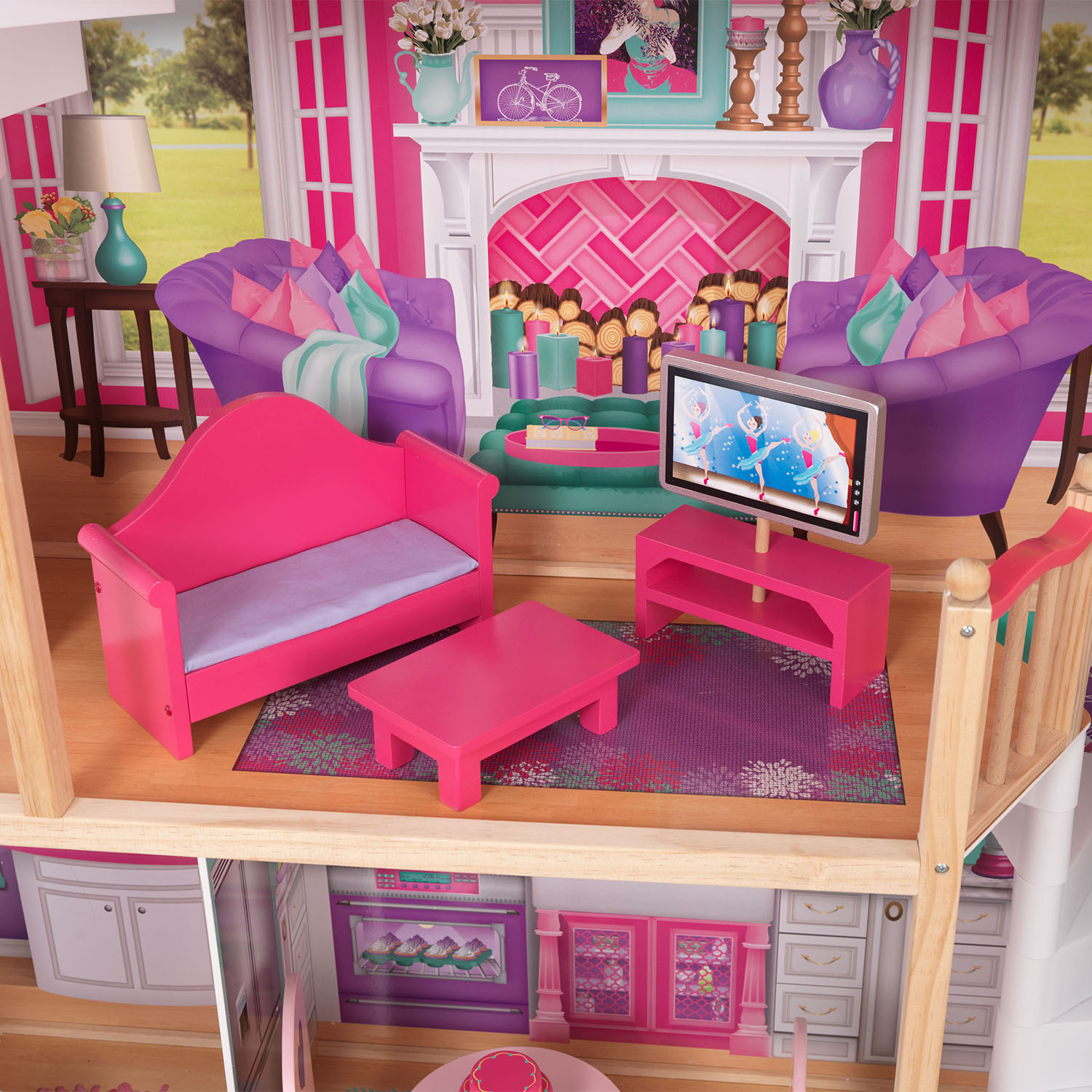 Kidkraft 18 Inch Colorful Dollhouse Doll Manor With Jumbo Furniture 65830 Ebay