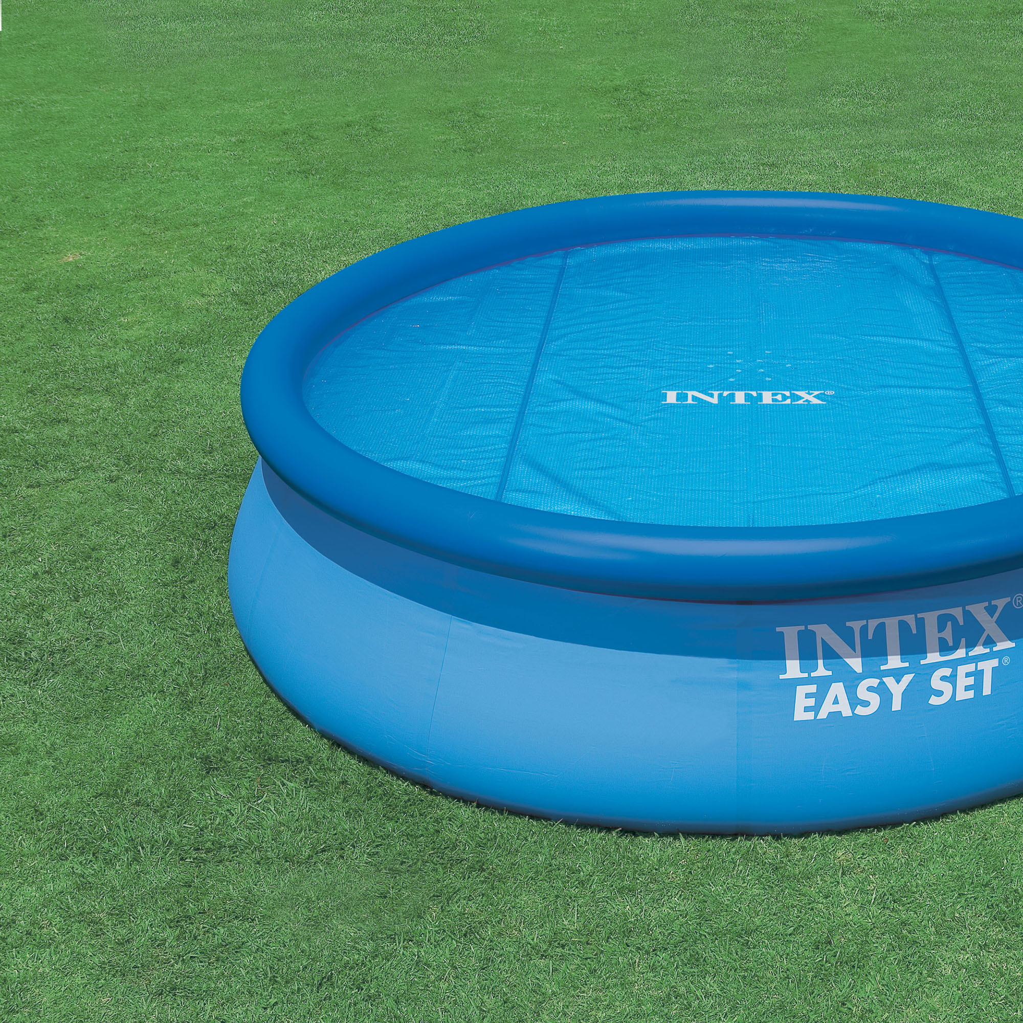 intex 15 foot round easy set vinyl solar cover for swimming pools blue 29023e 703457319168 ebay. Black Bedroom Furniture Sets. Home Design Ideas