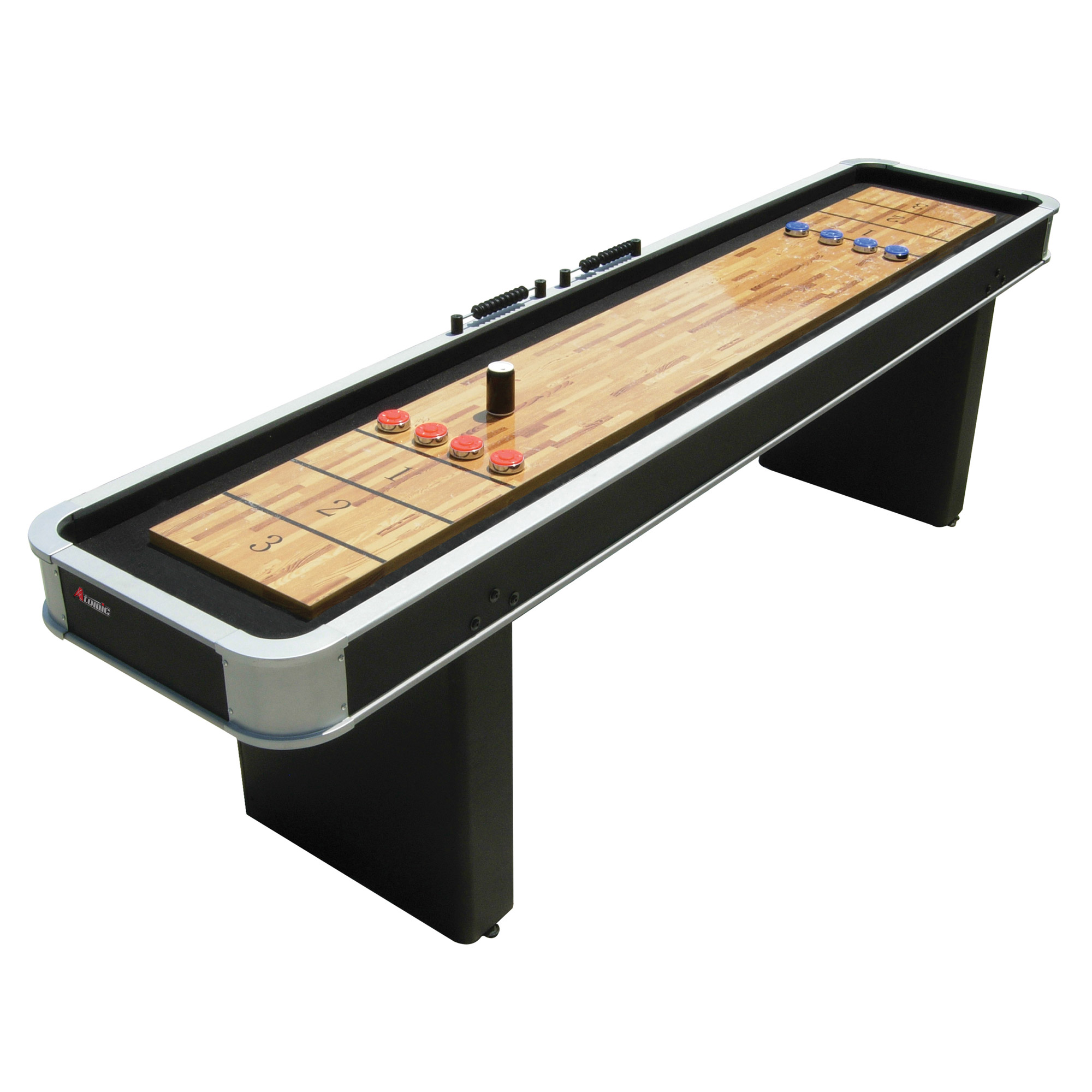 Atomic 9 Platinum Recreation Room Shuffleboard Table and Pucks