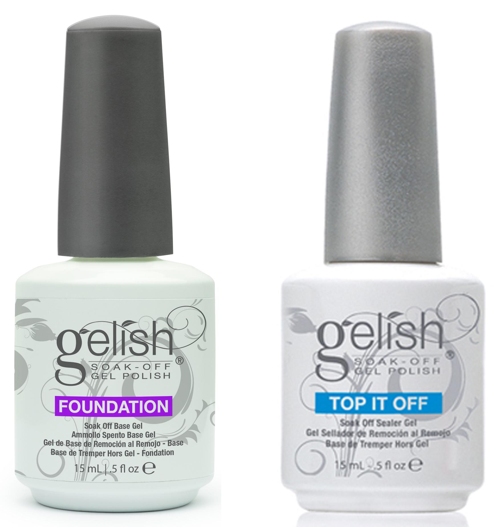 Gelish Gel LED Foundation Base Coat + Top It Off Coat + pH Bond 15 ...