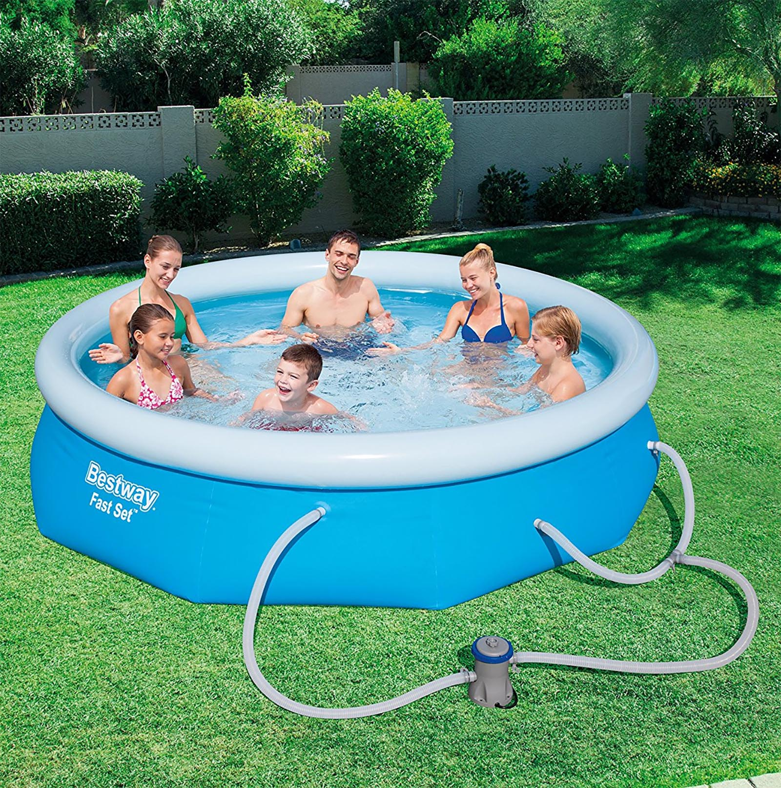 Bestway 10 39 X 30 Fast Set Inflatable Above Ground Swimming Pool W Filter Pump Ebay