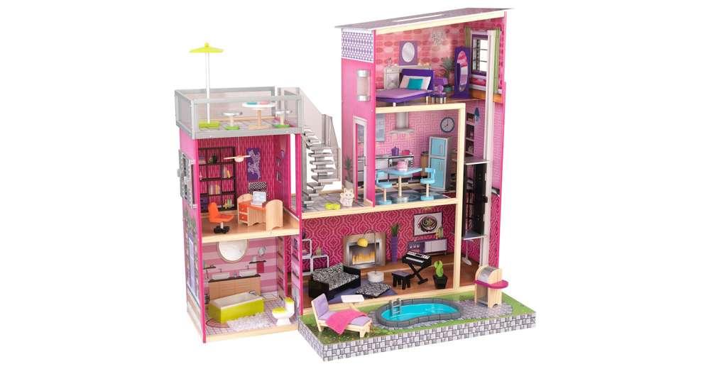 KidKraft Uptown Modern Stylish Wooden Dollhouse with Furniture  65833 ...