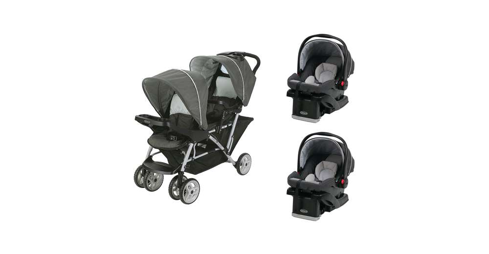 graco duoglider click connect double stroller snugride car seats travel system ebay. Black Bedroom Furniture Sets. Home Design Ideas