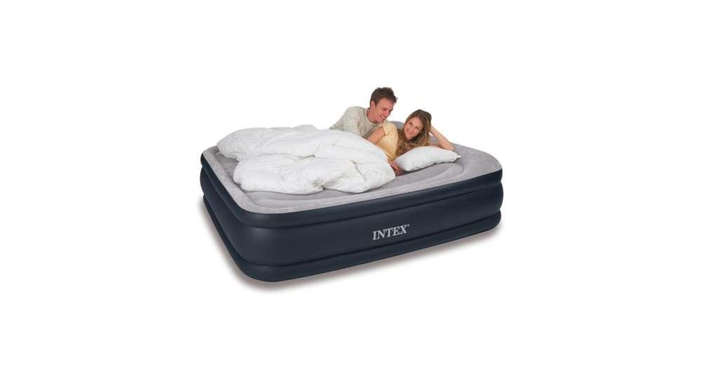 Intex deluxe raised pillow rest air mattress with built in for Intex gartenpool