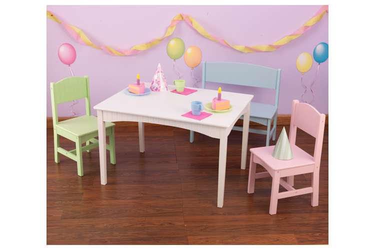 KidKraft Nantucket Table With Bench And Chair Set Pastel 26112 VMInnova