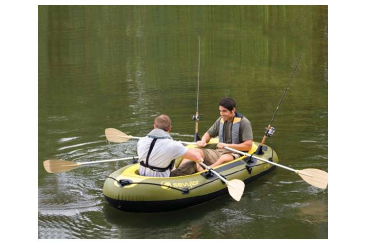Sevylor fish hunter inflatable 4 person boat 700 lb for 4 person fishing boat