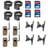 Cuddeback Cameras (4) & Memory Cards (4) & Mounts (4) & Cables (4)