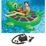 Swimline Pool Kids Inflatable Giant Turtle Toy 74-Inch with 110 Volt Air Pump