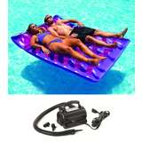 Swimline Two Person Inflatable Pool Lounger w/ Electric Air Pump | 9036 + 9095
