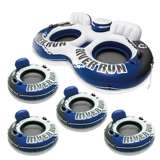 Intex River Run II Inflatable 2 Person Tube + 1 Person Inflatable Tube (4 Pack)