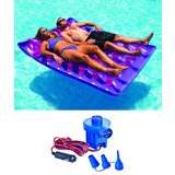 Swimline Two Person Inflatable Pool Lounger w/ Electric Air Pump   9036 + 19150