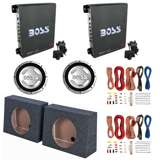 "Boss Amp (2 Pack) & 12"" 1400W Subwoofer (2 Pack) & 12"" Sub Box (2 Pack) & Wiring Kits"