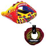 Airhead Poparazzi 2 Rider Wing-Shaped Towable Tube w/ Rope
