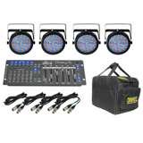 (4) Chauvet SlimPar 64 LED Lights w/ Obey 6 Controller, Case & Cables