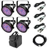 Chauvet SlimPar 56 LED Light (4) + 25' DMX Cable + 10' DMX Cable (3) + Carry Bag