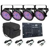 (4) Chauvet SlimPar 56 LED Light Effects w/ RGB3C Controller + DMX Cables + Travel Case