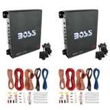 Boss 1100 Watt Monoblock Class A/B Car Audio Amplifier (2 Pack) & Soundstorm Wire Kit (2 Pack)