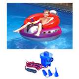 Swimline Inflatable Ufo Squirter Lounge Chair 9078 with 12 Volt Air Pump