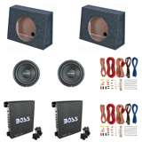 "Rockford Fosgate 10"" Subwoofer (2 Pack) & 10"" Sub Box (2 Pack) & 1100W Amp (2 Pack) & Wire Kits"