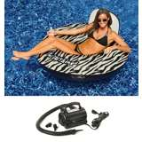 Swimline 90552 Inflatable Swimming Pool Zebra Print Raft w/ 110 Volt Air Pump