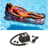 Swimline Swimming Pool Deluxe Lounge Chair w/ Electric Air Pump | 9041 + 9095