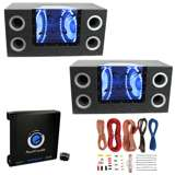 "Pyramid 12"" 1200W Box Subs (2 Pack) & 1500W Amplifier & Wire Kit"