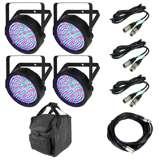 Chauvet SlimPar 64 LED Light (4) + 25' DMX Cable + 10' DMX Cable (3) + Carry Bag