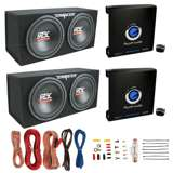 "MTX TNE212D 12"" Subwoofer (2 Pack) + Monoblock Amp (2 Pack) + Wire Kit"