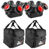 Chauvet DJ Helicopter Q6 Rotating Stage Lighting Effect (2 Pack) + 2 Carry Cases