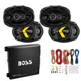 "Kicker 6x9"" 360W Car Speakers (4 Pack) + 1000W Amplifier + 8 Gauge Wiring"