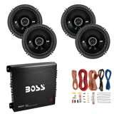 Kicker 6.5-Inch 240W Car Speakers (2 Pairs) + 1000W Amplifier + 8 Gauge Wiring