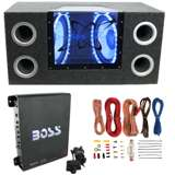 "Pyramid BNPS102 10"" 1000W Dual Car Subwoofers w/ Box, 1100W Mono Amp, & Amp Kit"
