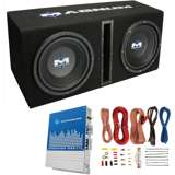 "MTX Magnum MB210SP 10"" 400W RMS Dual Car Loaded Subwoofer Box with Wiring Kit"