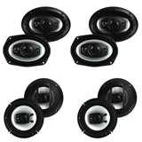 "Boss 6"" x 9"" 500W 4 Way Coaxial Speakers (4 Pack) & 6.5"" 300W 3 Way Coaxial Speakers (4 Pack)"