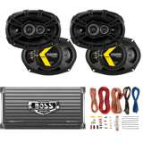 "Kicker 6x9"" 360W Car Speakers (4 Pack) + 1600W Amplifier + 8 Gauge Wiring"