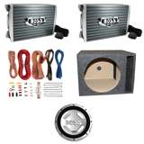 "Boss Audio 1500 Watt Mono Amp (2 Pack) & 12"" 1400 Watt Subwoofer & 12"" Vented Sub Box & Wire Kit"