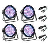 (4) American DJ Mega Par Profile LED Par Can Lights w/ DMX Cables