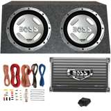 Boss 12-Inch 1400W Subwoofers + 1500W Mono Amplifier + Amp Kit + Subwoofer Box