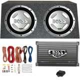Boss 12-Inch 1400W Subwoofers + 1500W Mono Amplifier + Amp Kit + Subwoofer Box