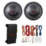 2) Pyle PLPW6D 6-Inch 600W Subwoofers + 200W 2-Channel Amp + Amp Kit (Package)