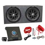 Kicker 10C154 1000W 15-Inch Subwoofers with Sealed Box Enclosure with Amp with Wiring