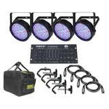 (4) Chauvet SlimPar 64 LED RGB Lights + RGBW4C Controller, CHS-25 Case & Extras!
