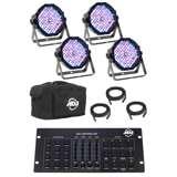 American DJ Mega Flat Pak Plus with UV LED Set + DMX Controller