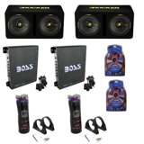 "Kicker 12"" Loaded Sub Box (2 Pack) & 1100W Amps (2 Pack) & 12V Capacitors (2 Pack) & Wire Kits"