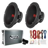 Boss Chaos 12-Inch 1200W Subwoofer (Pair) with Amplifier & Wiring