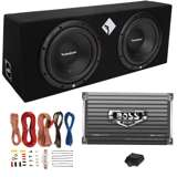Rockford Fosgate R1-2X10 10-Inch 800W Loaded Subwoofer Enclosure with Amp with Amp Kit