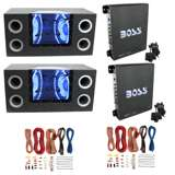 "Pyramid 10"" Subwoofers (2 Pack) & Boss Amplifier w/ Remote (2 Pack) & Soundstorm Wiring Kit (2 Pack)"