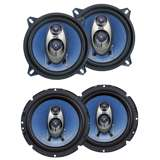 Pyle PL63BL 6.5-Inch 360W 3-Way with PL53BL 5.25-Inch 200W Coaxial Speakers (Pair)