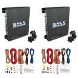 Boss 1100 Watt Monoblock Class A/B Car Audio Amplifier (2 Pack) & Soundstorm Wire Kit (2 Pack)