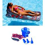 Swimline Swimming Pool Deluxe Lounge Chair w/ Electric Air Pump | 9041 + 19150